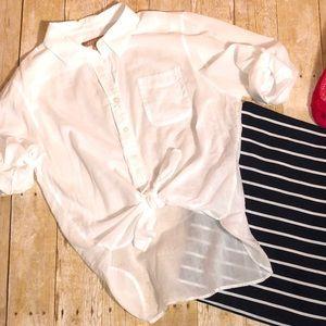 Ellen Tracy gauzy white button UP sz Large